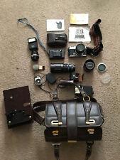 Vintage Nikon Nikkormat EL 35mm, Nikon Lens Soligor Pentax Vivitar and Bag