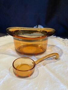 Unusual Vintage Top Hat Condiment Dish w/ Amber Spoon Depression Glass Blown