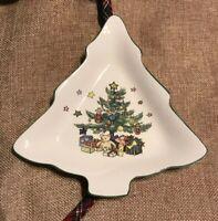 "VINTAGE NIKKO CHRISTMASTIME CANDY NUT DISH 6 3/4"" CHRISTMAS TREE SHAPED JAPAN"