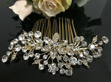 Gold tone hair comb bridal wedding crystal rhinestone hair accessories ha3201