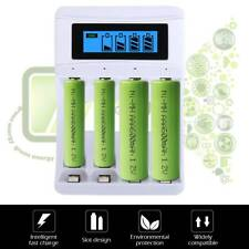 4 Slot LCD Display Battery Charger USB Rechargeable for Main AA AAA NiCd NiMh