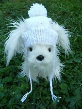 S handmade knit White dog hat