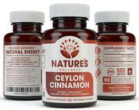 Organic Ceylon Cinnamon Supplement - Balance Blood Sugar Levels - 1200mg, 60 Veg