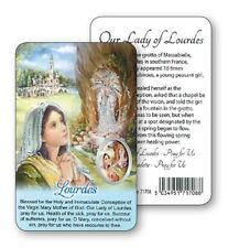 LADY OF LOURDES PRAYER LAMINATED CARD WITH RESIN DROP PICTURE OTHER ITEMS AVAIL.