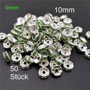 50 x Zwischenperlen 10mm Grün silberfarbe Strassrondelle Spacer Strass Scheibe