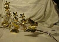HOMCO Butterflies~ Flowers Wall Decor Gold Tone Butterfly Copper Stem    409/34