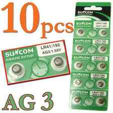 10 pcs AG3 SG3 LR41 192 1.55V Alkaline coin Button coin Cell Battery Suncom