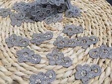 10pcs Grey Flower Venise Lace Embroidery Applique Motif Dance Costume 4*2.5cm
