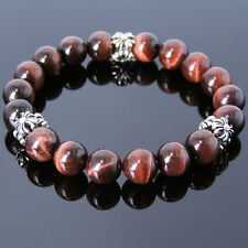 Men's Bracelet Healing Gemstone Red Tiger Eye S925 Sterling Silver Cross 076M