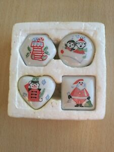 SET Of 4 MINI CHRISTMAS CANDLES/ TEALIGHTS IN CHINA PILL BOXES