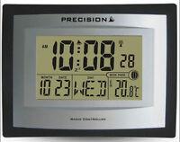 Precision Alarm Wall Table Clock Radio Controlled Digital Moon Temp PREC0103