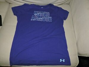 UNDER ARMOUR PURPLE T-SHIRT GIRLS YOUTH SIZE LARGE LOOSE FIT HEAT GEAR