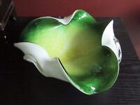 Mid Century MURANO ART GLASS BOWL DIAMOND Quilted Optic Controlled Bubble Silver