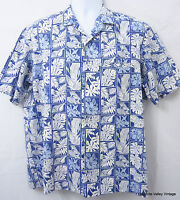 Royal Creations LG Aloha Shirt Blue White Mens Hawaiian Shirt VTG Made In Hawaii
