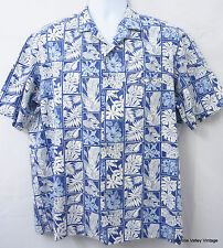 Royal Creations LG Aloha Shirt Blue White Mens Hawaiian Shirt VTG Made In Hawaii