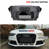 RS4 Style Chrome Frame Black Mesh Grille w/ Emblem For 13-16 Audi A4 S4 B8.5