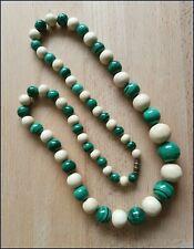 Bone Beaded Necklace - Weight 106 Grams Art Deco Beautiful Green Malachite & 0X