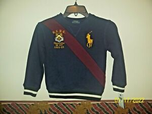 Polo Ralph Lauren Boy's Big Pony Sweatshirt Polo Crest Size 5 Navy Blue NWT $55