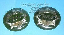 BSA 65-8228 A7SS 4 inch pair badges green/gold Goldstar Tankembleme rund rare