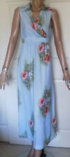 Vintage 70s Polyester Long Maxi Dress Blue with Pink Flowers Sleeveless B34