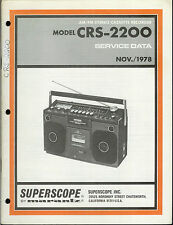 Rare Factory Superscope/Marantz CRS-2200 Cassette Tape Deck Service Data Manual
