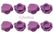 15 x Rose Resin Flat Back Cabochon Flowers 18mm x 8mm - Light Purple  - CAB10