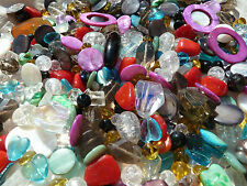 1 Kilo Mixed Job Lot Of Glass & Shell Beads 100s Many Different Colours& Styles