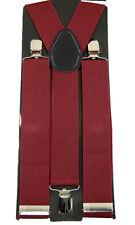 "Unisex Clip-on Braces Elastic ""Burgundy"" Y -Back Suspender 1 1/2"""