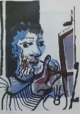 PABLO PICASSO the painter at work signed HAND NUMBERED 799/2000 LITHO gouache
