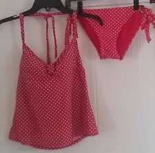 Women two-piece bathing suit tankini size Small Swim Systems Red polka dot -210