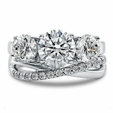 Round 3.93 Ct Diamond Wedding Band Sets Real 14K White Gold Wedding Ring 10# 745