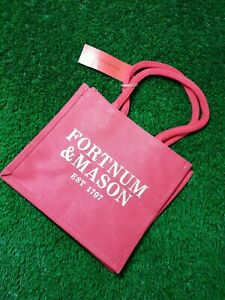 Fortnum and Mason F&M Red Canvas Tote Bag small