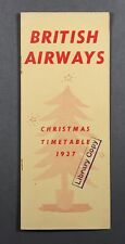 BRITISH AIRWAYS CHRISTMAS AIRLINE TIMETABLE 1937