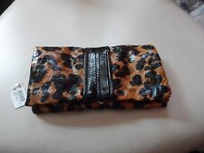 Black and brown leopard print bow wallet by Claire's NWT