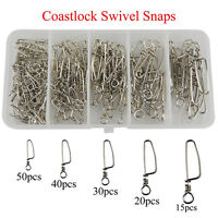 155PCs Stainless Steel Fishing Coastlock Snap Set Safety Snap for Lures & swivel