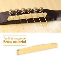 Pro Bone Bridge Saddle Nut Slotted Set For 6 String Acoustic Guitar Brass