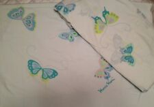 VINTAGE HANAE MORI BLUE BUTTERFLY  MARTEX FULL SIZE FLAT AND FITTED SHEET SET