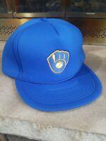 Vintage Milwaukee Brewers MLB Baseball Snapback Foam Trucker Hat Blue Yellow EUC