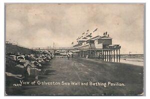 Sea Wall and Boardwalk Pier Bathing Pavilion GALVESTON TX Vintage Texas Postcard