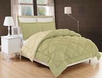 3 Piece Reversible Comforter Set Down Alternative Sage / Cream Season-Comfort™