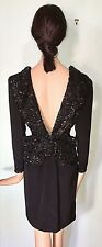 Vintage ODICINI Couture Evening Dress Black Sheer Lace Sequin Back Bow XS S