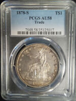 :1878-S Key-Date Silver Trade Dollar PCGS AU-58 Certification Higher-Grades