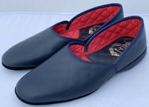 Pakeman Catto & Carter Grecian Leather Slippers - Colour Navy Blue Size 9 - NEW