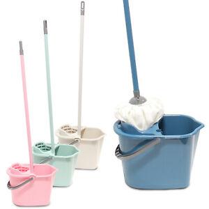 Plastic Mop and Bucket Set Wringer Sgueegee Floor Cleaning Cleaner Hardwood Tile