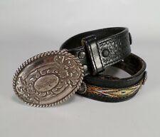 Wrangler Tooled Leather Belt Concho Basketweave Full Grain Western Black 24
