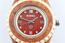 Bewell Holzuhr Damenuhr 31mm Sandelholz-Ahorn Strassteine Top-A-Ware Geschenkox