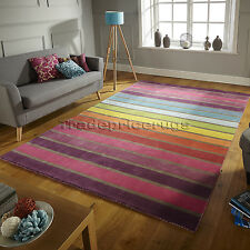 Flair Rugs Illusion Candy Stripe 100 Wool Hand Tufted Runner Multi 60 X 230