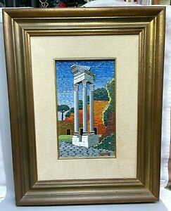 Vintage RARE Giorgio Saltelli of Italy Mosaic Columns Framed Wall Art Picture