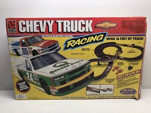 Life-Like Chevy Truck Racing Slot Car Set in Box 16' of Track + Cars RARE FAST