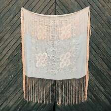 Vintage 1920s Silk Embroidered Fringe Piano Shawl
